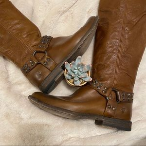 Frye Phillip Studded Harness Boots Tall Brown